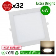 32pcs 6W 4 inch LED Ceiling Light Square Natural White